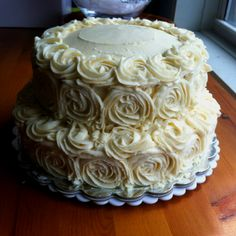 Tres Leches Cake with Dulce de Leche buttercream - simple and beautiful. Made by Homemade by Heidi M