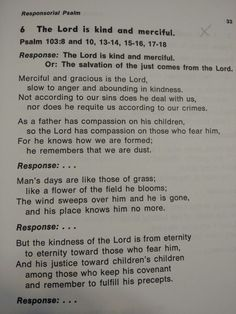 Psalm 103:8 and 10, 13-14, 15-16, 17-18