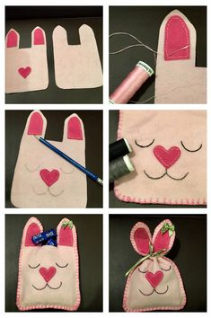 Saquinho de coelho Easy Sewing Projects, Projects For Kids, Drawstring Bag Diy, Rag Doll Tutorial, Felt Cupcakes, Bunny Bags, Felt Purse, Spring Crafts For Kids, Pencil Pouch