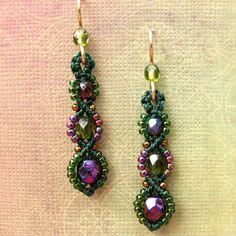 Macrame Earrings Beaded Earrings Beadwork Purple by glassdancer, $22.00
