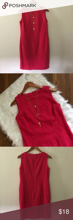 """Liz Claiborne 💯# Cotton Sheath Dress Li Claiborne 💯% cotton eyelet sheath dress. Dark pink, almost red. Excellent condition no flaws. Full lining is 💯% polyester. Hidden back zipper. Chest 34"""", length 35"""", hits several inches above knees. Clean, non-smoking home. All clothes in my listings are clean & also freshly laundered before packaging. Posh Amvassador, 5⭐️avg rated, ship quickly! Liz Claiborne Dresses"""