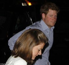 Fashionably late: Prince Harry arrived late with other guests on Thursday night and slipped in a back entrance 1 May 2014