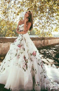 floral print overlay alessandro angelozzi wedding dress, absolutely stunning by I could never pull it off Alessandro Angelozzi Couture 2015 presents Bianca Balti collection, another appealing wedding gown collection Bridal Gowns, Wedding Gowns, Wedding Blue, Trendy Wedding, Wedding Colors, Wedding Bridesmaids, Wedding Cakes, Wedding Dresses With Color, Lace Wedding