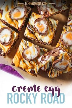 Super easy, no bake, utterly delicious Creme Egg Rocky Road recipe. Great for bake sales and making with kids, the best Easter chocolate treat! This no fail chocolate dessert recipe is a must make for Easter. Fall Desserts, Delicious Desserts, Easter Desserts, Easter Treats, Chocolate Treats, Easter Chocolate, Cheap Dessert Recipes, Snack Recipes, Creme Egg