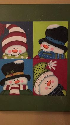 New craft canvas christmas ideas Christmas Rock, Diy Christmas Tree, Felt Christmas, Christmas Snowman, Christmas Ornaments, Christmas Items, Snowman Decorations, Snowman Crafts, Christmas Decorations