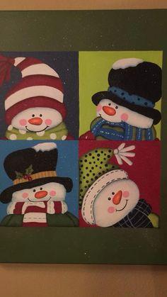 New craft canvas christmas ideas Christmas Rock, Christmas Sewing, Diy Christmas Tree, Felt Christmas, Christmas Snowman, Christmas Time, Christmas Ornaments, Snowman Decorations, Snowman Crafts