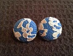 Royal Blue with Silver Lace Button Earring by TheLuxeButton, $6.25