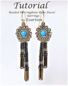 Beaded Tassel Earrings Tutorial Beaded Herringbone Rope