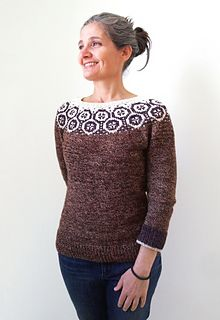 Inspired by a visit to Lisbon and the wonderful tiles that cover so many of the buildings there, as well as the Turkish tiles and Ottoman textiles at the Gulbenkian Museum in Lisbon, this pullover is a celebration of the simple shapes that make those tiles so appealing and the play of figure-ground perception as the two colors in the yoke pattern swap places and dance with each other.