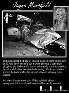 Jayne mansfield crash yahoo image search results vera for How old was jayne mansfield when she died