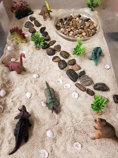 Dinosaur Sensory Bin - sand, stones, ABC shells and aquarium plants