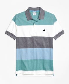 This lightweight cotton pique polo has a series of 4 different colored stripes repeating down the garment. Engineered to have the Golden Fleece® logo on the same stripe color regardless of what size you purchase. Bird's-eye collar. Finished with a signature performance treatment to enhance shape retention and resistance to shrinking, fading and pilling. Contrast logo at chest. Machine wash. Imported. Also available in Original fit.