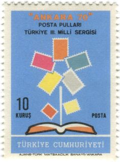 Turkey postage stamp: Ankara 70 flower  c. 1970, in commemoration of the 3rd National Stamp Exhibition of Ankara