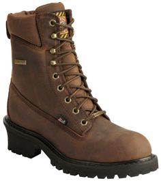 aeb2d819eb Justin Mahogany Gore-Tex Waterproof Logger Boots - Steel Toe available at   Sheplers Logger