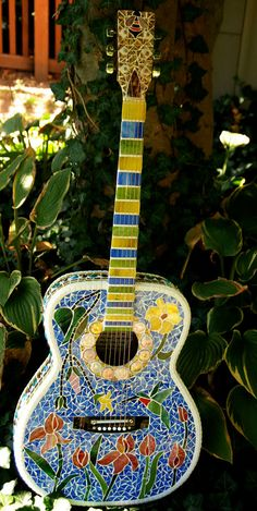 Stained Glass Mosaic Guitar Nature's Way by Schilltill on Etsy, $430.00