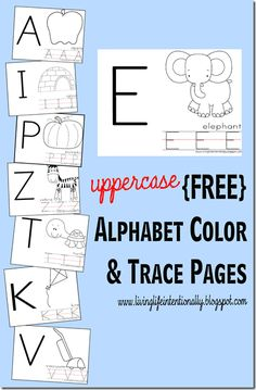 Free printable alphabet worksheets for toddler, preschool, and kindergarten. These are great for kids to practice uppercase letters along with an alphabet coloring portion which is great for refining fine motor and writing readiness skills! Preschool Letters, Learning Letters, Preschool Kindergarten, Preschool Learning, Preschool Activities, Teaching Kids, Toddler Preschool, Preschool Worksheets, Preschool Readiness