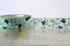 Woodland Marine Teal Bird Tree, bladeren, Japanse Washi Tape val patroon Masking Tape 15mm