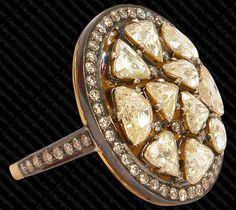Ring with Rosecut and Singlecut Diamonds set in 14k Gold and Sterling Silver #rosecut #designerjewelry #bridaljewelry #indianfashion #tempusgems