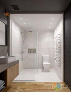 Дизайн-проект в таунхаусе, белый санузел, душевая в санузле