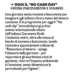 """21/06/2011 - Il Fatto Quotidiano - OGGI IL """"NO CASH DAY"""" CONTRO INQUINAMENTO E EVASIONE"""