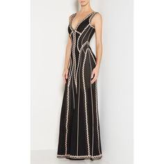 Herve Leger Lineisey Zigzag Pointelle Knit Gown (£2,125) ❤ liked on Polyvore featuring dresses, gowns, black, mermaid dress, herve leger gown, applique dress, mermaid gown and plunging v neck dress