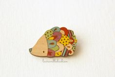 Hedgehog wooden brooch colorful wood hedgehog by lacravatteduchien
