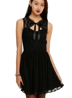 """<p><span id=""""webDesc"""">Black lace fit & flare dress with a front keyhole accent and ribbon tie. Back zipper closure.</span></p>  <ul> <li><span id=""""bullet0"""">34"""" long from shoulder</span><span id=""""bullet0Span""""></span></li> <li><span id=""""bullet1"""">100% polyester</span><span id=""""bullet1Span""""></span></li> <li><span id=""""bullet2"""">Wash cold; dry low</span><span id=""""bullet2Span""""></span></li> <li><span id=""""bullet3"""">Imported</span></li> </ul>"""