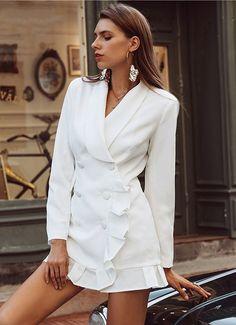 cceae22c1be White Blazer Dress. White double breasted blazer dress with flirty ruffle  hem Long Blazer
