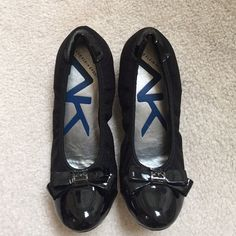 Anne Klein Patent Bow Wedge These are really comfortable and great for work or for a day when you know you'll be doing a lot of walking. Worn once. In excellent condition. Size 6. The heel is about 2.5in high. Reasonable offers considered! Anne Klein Shoes Wedges