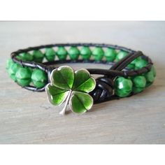 Lucky leather bracelet 'Irish Luck' green shamrock four leaf clover,... ($44) ❤ liked on Polyvore