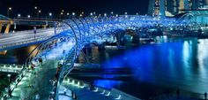 The Helix Bridge provides a pedestrian connection across the head of the Singapore River between the city's existing CBD and its new Bayfront district.  Its ...