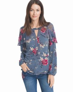 Women's Long Tiered Sleeve Floral Blouse by WHBM