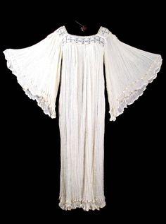 Vintage GAUZE ANGELWING DRESS Crochet Long 1970's 70's