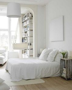 scandinavian style bedroom interior ideas bedroom design photo Photo of Scandinavian Bedroom Interior Design All White Bedroom, White Rooms, White Walls, White Bedding, White Linens, White Sheets, Linen Sheets, Blue Walls, Scandinavian Bedroom