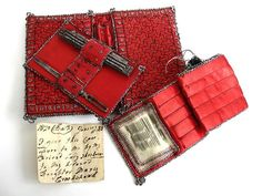 1800s beaded red hussif (housewife or sewing kit)