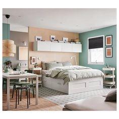 BRIMNES Cadre lit avec rangement - blanc, Lönset - IKEA
