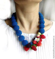 """Слингобусы """"Синие"""". - синий,вязаные бусы,слингобусы,ягоды,земляника,клубника"""