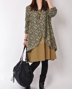 Spring//Fall Skirt Khaki Women Cotton Long Dress Vintage Casual knee skirt Loose Two Layers Plus Size Hoody on Etsy, $56.99