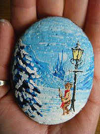 Painted Rock / Stone - Narnia - JakeArt1, Artist, commissions, unique gift ideas