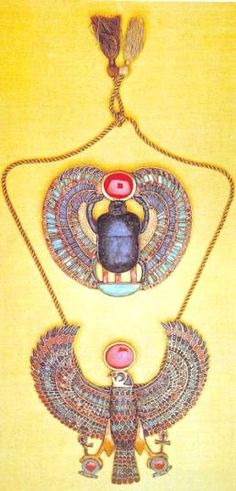 From the pictures I've seen of Egyptian jewelry, most of them seem to depict animals. The beetle in the top of this picture is very popular but I'm not quite sure why. Their colors were very vibrant and harmonious, standing out against their white attire You could pull this look off