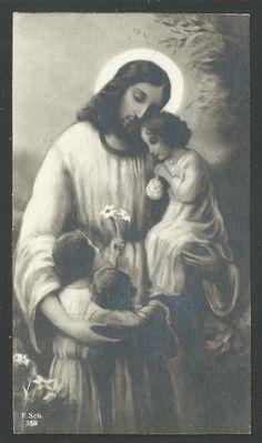 I found this lovely old print of Jesus and children. Religion Catolica, Catholic Religion, Catholic Art, Religious Art, Images Du Christ, Pictures Of Jesus Christ, Religious Pictures, San Jose, San Pedro