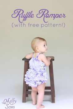 Sewing Projects For Baby Adorable ruffled bottom romper tutorial with free romper pattern by Melly Sews - Free ruffle bottom romper pattern for girls sizes months Baby Clothes Patterns, Sewing Patterns Girls, Baby Patterns, Pattern Sewing, Pattern Dress, Dress Patterns, Coat Patterns, Pants Pattern, Baby Sewing Projects