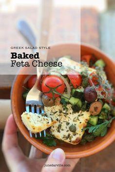 Greek Salad Style Baked Feta Cheese