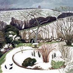 John Nash R. A Garden in Winter. He served with The Artists Rifles from Watercolor Landscape, Landscape Art, Landscape Paintings, John Nash, Garden Of Earthly Delights, Winter Images, Royal Academy Of Arts, Winter Landscape, Winter Garden