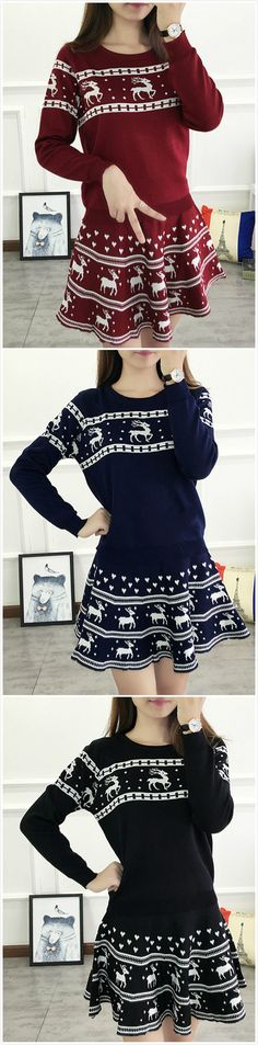 Women's Christmas Graphic Knit Matching Set