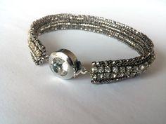 Beadwork Bracelet Herringbone Bracelet Silvery by GULDENTAKI