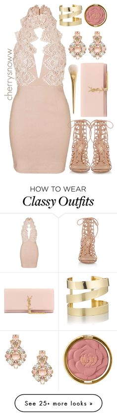 """Classy chic spring party outfit"" by cherrysnoww on Polyvore featuring Topshop, Gianvito Rossi, Yves Saint Laurent, Milani, Kate Spade and Étoile Isabel Marant"