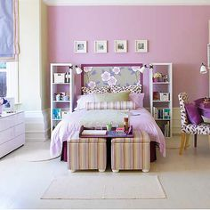 Patterns help soften and add texture to this lavender room. #purple #toddler