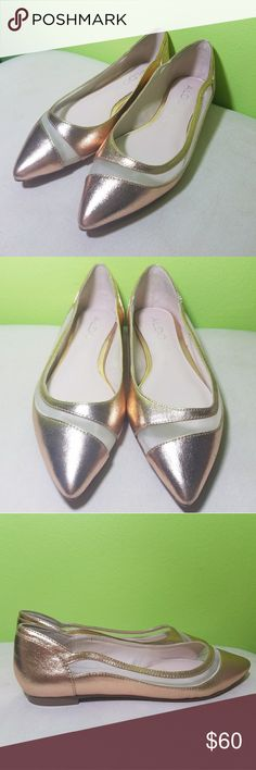 Aldo flats💛 These are by the famous designer shoe store Aldo,  they are pointy with gold and some pink undertone flats. The soul is made from genuine leather and they have a cute mesh line going across one side of the shoe. Aldo Shoes Flats & Loafers