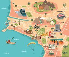 Jasmijn Evans - Map of Lima for KLM Holland Herald Magazine